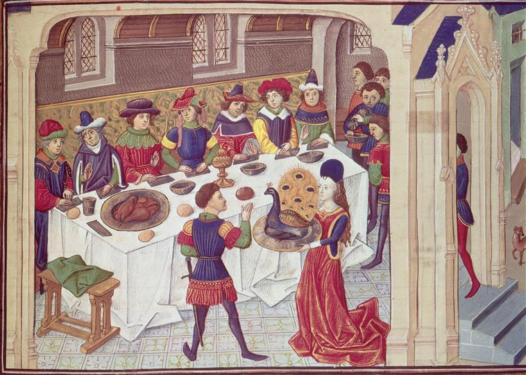 A mid-15th century banqueting scene demonstrates the rich fare and flowing wine that formed the luxurious diet from which at least one medieval monarch died [Wikimedia Commons]